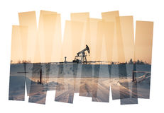 Pump jack abstract composition background. Royalty Free Stock Photos
