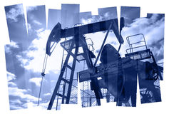 Pump jack abstract composition background. Stock Photos