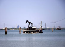 Pump Jack in the Bay Stock Image