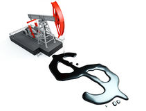 Pump jack with dollar signs Royalty Free Stock Photos