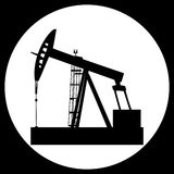Pump Jack Oil Crane. Black vector isolated oil well pump icon royalty free illustration
