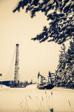 Pump jack and oil rig situated in forest. Stock Image