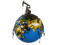 Pump jack and oil spill over planet. Earth isolated on white background vector illustration