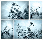 Pump jack and oilwell. Royalty Free Stock Photography