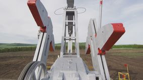 Pump Jack Moving Metal Parts At Oil Well Closeup Stock Video