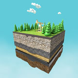 Pump jack on small slice earth with trees, clouds, layers soil stone and oil. gas rig energy industrial machine for petroleum. ren Stock Image