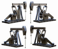 Pump Jack Views. 3D illustration depicting four isolated views of a pump jack (oil pump Royalty Free Stock Images
