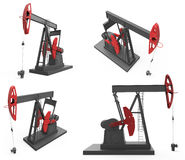 Pump jacks isolated on white. Pump jacks from four different angles isolated on white background Stock Image