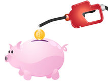 Pump money to piggy. Isolated pumping  money to piggy on white background Royalty Free Stock Photo