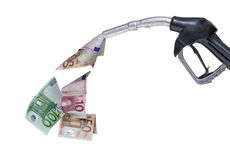Pump nozzle and euro Royalty Free Stock Photos