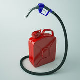Pump nozzles with red canister. Royalty Free Stock Image