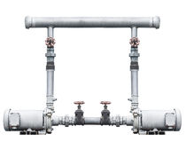 Pump, pipeline, and valve isolated on white Stock Photos