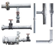 Pump, pipeline, and valve isolated on white Royalty Free Stock Photo