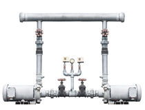 Pump, pipeline, and valve on white Royalty Free Stock Images