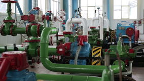 Pump station with pipes and valves stock video