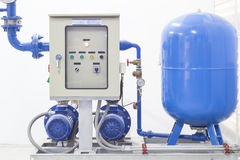 Pump. System inside factory, Water Royalty Free Stock Photography
