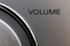 Pump Up The Volume. Macro shot of a volume control on a hi-fi stock image