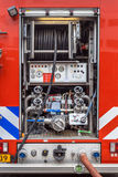 Pump and Valves on a Fire Engine royalty free stock image