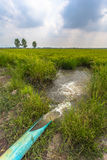 Pump water from the canal to the rice paddies. Stock Images