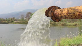 Pump water fill in reservoir , storage before drought stock footage