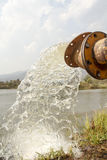Pump water fill in reservoir , storage before drought Stock Image