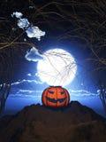pumpa 3D mot ett spöklikt allhelgonaaftonlandskap royaltyfri illustrationer