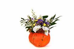 Pumpa med blommor på halloween, isolat på vit bakgrund Fotografering för Bildbyråer