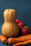 Pumpa med höstgrönsaker på en blå bakgrund Arkivbild