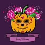 Pumpa med maskeringen av död- och rosa färgrosor vektor illustrationer