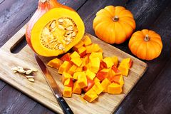 Pumpa och pumpaskivor Autumn Healthy Food Nutrition Seasona royaltyfri foto