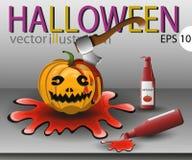 Pumpa på allhelgonaafton med en yxa och en ketchup i blodet Royaltyfria Bilder