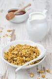 Pumpagranola med mjölkar och honung Arkivfoto