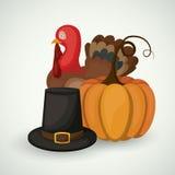 Pumpakalkon och hatten av givet tack planlägger stock illustrationer