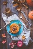 Pumpapannkakor Autumn Food Composition Royaltyfria Bilder