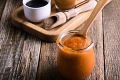 Pumpapuré och ingredienser för förberedelsepumpa kryddar latt royaltyfria bilder