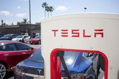 Pumpar för Tesla uppladdningsstation royaltyfri bild