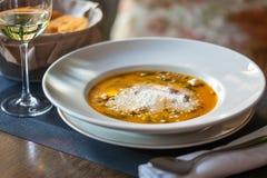 Pumpasoppa med parmesan royaltyfri bild