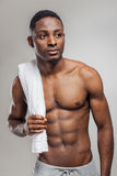 Pumped african american man after workout Stock Image