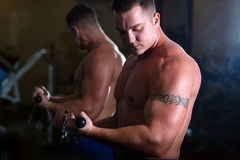 Pumped guy pulling weight in gym. Young pumped power-lifter with a tattoo on his bicep posing in the gym Stock Photo