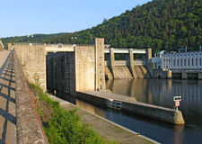 Pumped storage hydro plant. On the Vltava river in the Czech Republic stock image
