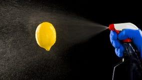 Pumpensprüher und die Zitrone Stockfoto