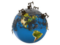 Pumpensteckfassungen und -Ölpest Lizenzfreies Stockfoto