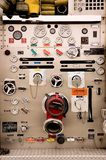Pumper Controls. A pumper fire truck's complex control panel Stock Photos
