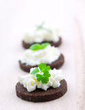 Pumpernickel bread canape Stock Images