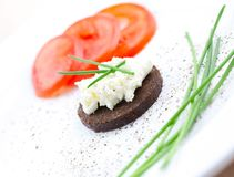 Pumpernickel bread with curd Stock Images