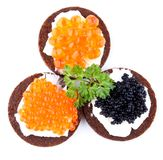 Pumpernickel bread topped with red and black caviar Royalty Free Stock Image