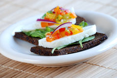 Pumpernickel and haloumi cheese sandwich Stock Photography