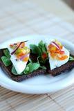 Pumpernickel and haloumi cheese sandwich stock photos