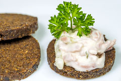 Pumpernickel with meat salad Stock Images