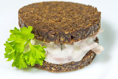 Pumpernickel with meat salad Royalty Free Stock Photos